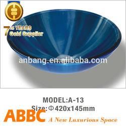 Single green glass bathroom sink simple designs price off 30% model NO. A-13
