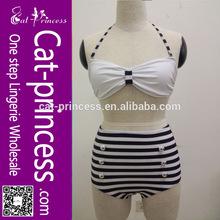 2014 wholesale sexy halter neck white &black vintage bikini