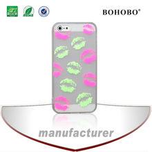 Custom design glow in dark lips painting TPU case For iphone 5