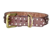 bag9202 custom studs bead brown genuine leather dog collars neck belt leash supplier