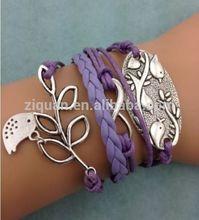 Latest Design New Purple Infinity Birds Leather Charm Bracelet Jewelry Tree