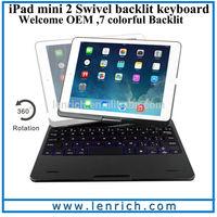 LBK204 Ultra-thin Backlit Wireless Bluetooth Keyboard for iPad Mini with swivel 360 rotation case