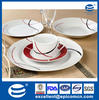 20pcs white country style round porcelain kitchen dinner set with simple black and red line decal