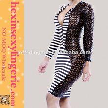 Drop shopping elgent Elegant black and white stripe bandage dress