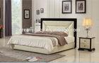 Foshan Golden Hotel high back wooden frame with leather bed model 9626