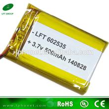 NEW ENERGY 602535 3.7v 500mah li-ion polymer lipo battery for GPS DVD Player