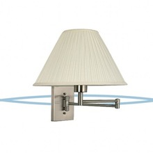 brushed nickel hotel Swing Arm wall Lamp,wall lighting with fabric shade