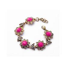 2014 fashion antique gold crystal resin beads flower bracelet new gold bracelet designs