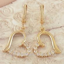 Beautiful Yellow CZ Womens / Heart Dangle Open Style Earrings