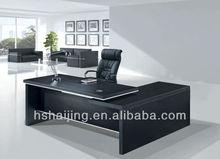2014 Pakistan Market Ebony-Dark Brown Veneer Modern CEO Desk with Return