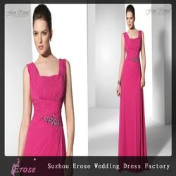 SH 761 Designer Wide Straps Rose Red Elegant Chiffon Evening Dresses Long