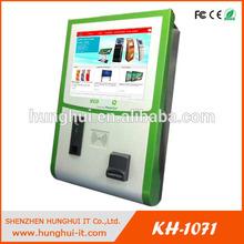 Wall Mounted Self Payment Terminal / HUNGHUI KH-1071 Cash Payment Terminal Kiosk