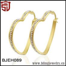Yellow Gold Filled Titanium Jewelry with Zircon Big Heart Huggie Earrings