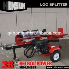 Self-powerd Honda gasoline motor 13HP horizontal and vertical 4way or 2way blade 38T trailer mounted wood splitter
