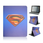 For iPad 2 3 4 Superman 3D Cartoon Printed PU Standing Cover Case with Elastic Belt From China Supplier