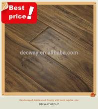 3 layers hand scraped acacia engineered solid wood floor