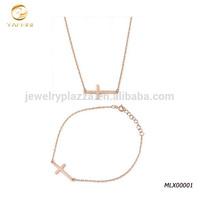 22mm Designer Horizontal Sideway Holy Cross 925 Sterling Silver 18k gold plate tiny necklace bracelet set