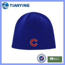 embroidered men knitted royalblue beanie hat