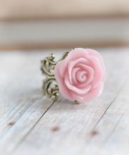 Popular!! Pink Resin Rose Ring Gothic Jewelry Statement Ring Cocktail Party Smart Jewelry Adjustable Rings wholesale
