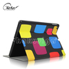 Colorful block leather flip case for huawei