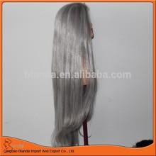long hair gray synthetic wig