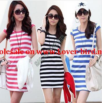 new 2014 women summer dress vestido bodycon casual dresses stripe sleeveles