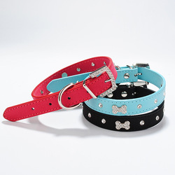 Huge Discount Bling Diamond PU Leather Dog Collars 2014 Collares Pet Dog Puppy Products