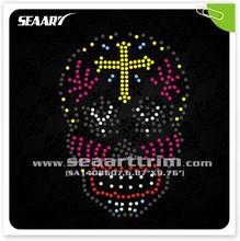 beautiful skull with cross hot fix rhinestone iron on transfer for garment