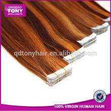 Wholesale price 100% european / brazilian hair skin tape hair extension