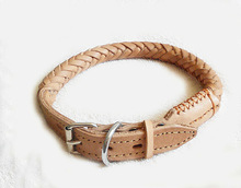 ubc9106 hot brown pure leather adjustable dog collar belt rope fashion