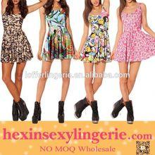 Drop shopping elgent colorfull mature women sexy mini dress