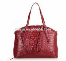 bot6372 custom crocodile alligator leather handbag for women cowhide bags supplier