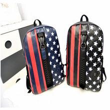 Hot Sale!!!National flag pu backpack korea star middle school student zip bag