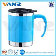 LFGB avaiable double wall plastic outer stainless steel coffee mug thermal cup