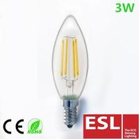 Hot!!! tuv ce certification led filament bulb C35 3W E14 clear glass ivory led flameless candle