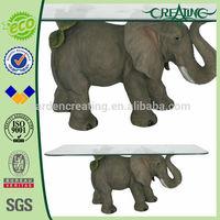 "25"" Durable Animal Elephant Glass Table"
