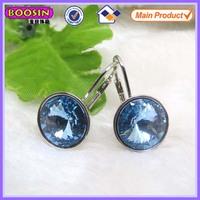 Blue rhinestone hoop earring fashion single stone earring designs #21844