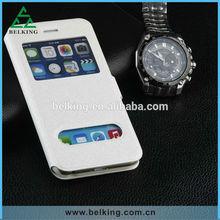 Hot sale book design flip shell case for iPhone 6 window cover silk skin PU leather case