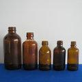 venta al por mayor de vidrio mini boston ronda botella de color ámbar