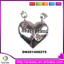 Best Friend Initial Alloy Heart Shaped Necklace Pendant