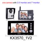 Dual monitors 2.4GHz digital wireless 7 inch color video door camera night vision door camera intercom system