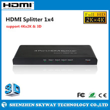 HDMI Splitter to Coaxial 1X4 Support 3D and 4KX2K, HDMI Amplifier Splitter to HDMI and Component
