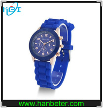 2014 fashion wholesale silicone geneva watch japan movt water resistant