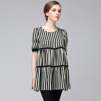 M80129B autumn fashion vertical stripes fat women women's fashion tops 2014
