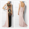 2015 Boutique elegant totem mauve printed silk and open back long evening gown/dresses (YL0458)
