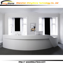 Matt finish rounded reception design solid surface Artificial Stone semi circle reception desk