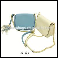 sky blue ladies message bag cross body bag saddle bag with gold shoulder chain