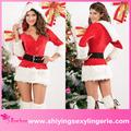 novo design atacado 3 peça com capuz fur guarnição de veludo vestido santa sexy mulheres lingerie sexy natal