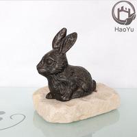 metal animal figurine the rabbit bronze sculpture for home decor