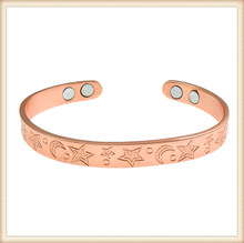 China supplier wholesale health nice pattern magnetic copper anti-static magnetic bracelet